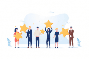 Figures holding up review stars