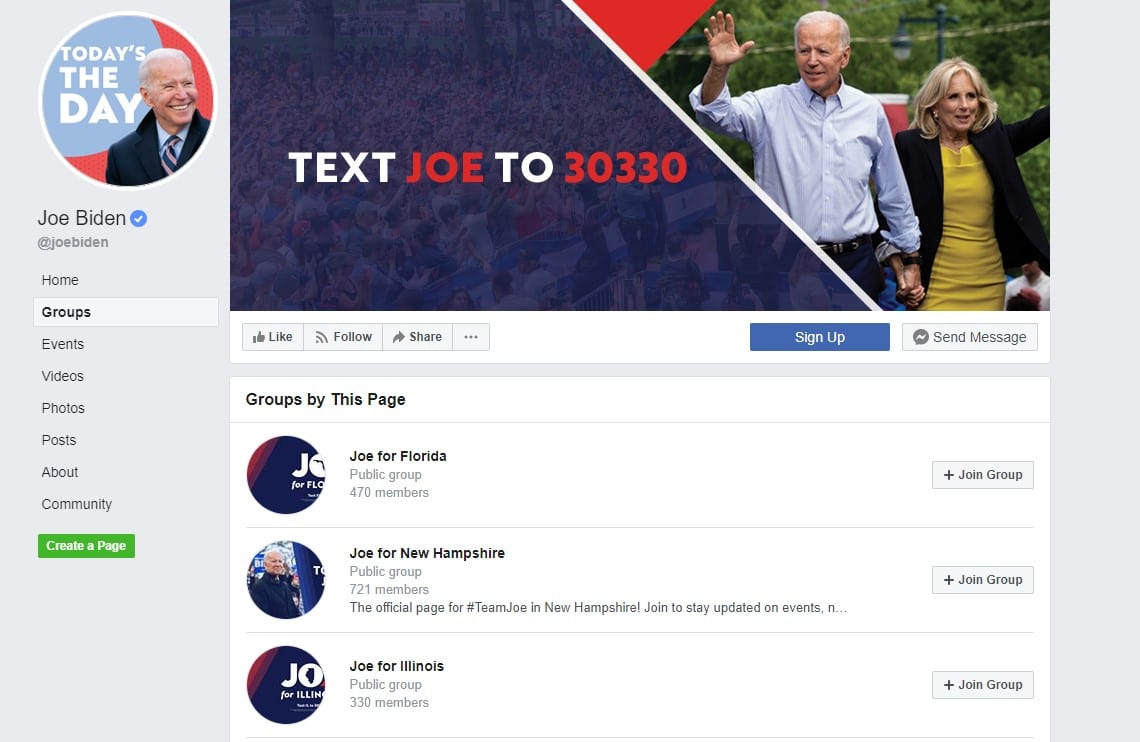 social media and political campaigns: Joe Biden on Facebook