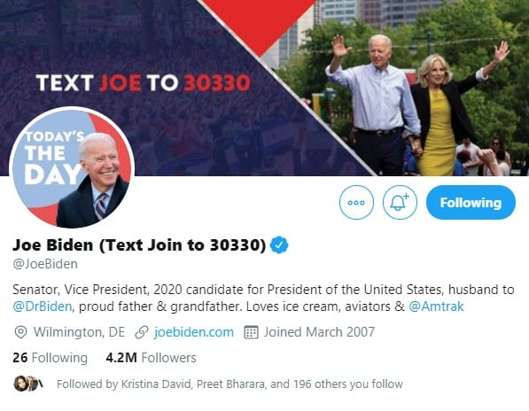Joe Biden on Twitter