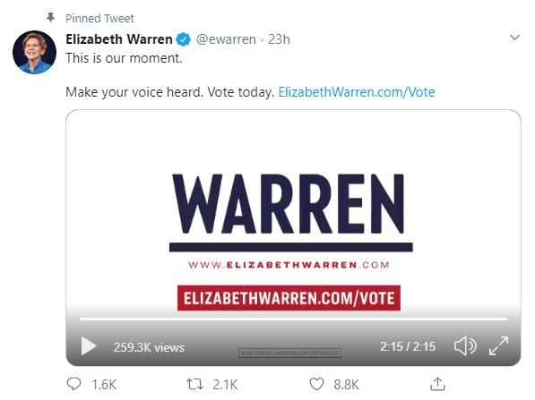 social media and political campaigns: Elizabeth Warren on Twitter
