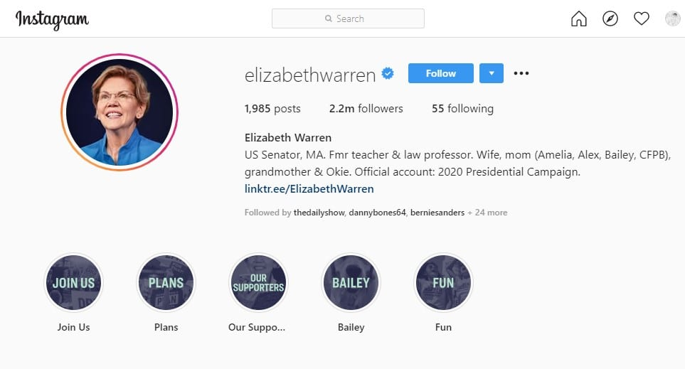 social media and political campaigns: Elizabeth Warren on Instagram