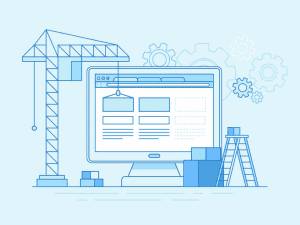Illustration of a website construction