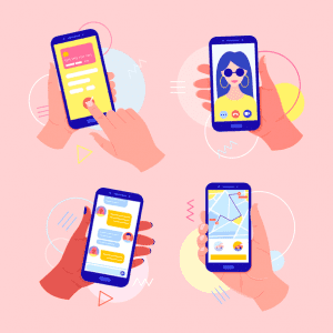 Phones depicting multiple functions on a smartphone