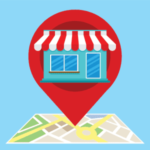 location pin showing a small business on a digital map
