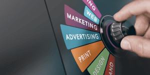 dial next to advertising, print, etc and set to marketing