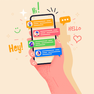 many people talking on a colorful messaging app